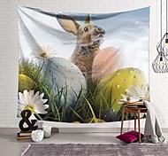 abordables -joyeuses pâques joyeuses pâques tapisserie murale art décor couverture rideau suspendu maison chambre salon décoration polyester lapin printemps lapin oeuf