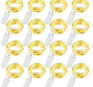 economico -2m luci stringa luci esterne 20 led 12 pezzi bianco caldo bianco blu impermeabile per regalo di natale decorazione di feste luci fatate batterie alimentate