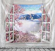 abordables -fenêtre paysage mur tapisserie art décor couverture rideau suspendu maison chambre salon décoration arbre fleur fleur montagne
