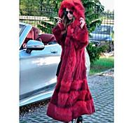 economico -Per donna Tinta unita Autunno inverno Cappotto di pelliccia sintetica Lungo Per uscire Manica lunga Pelliccia sintetica Cappotto Top Rosso