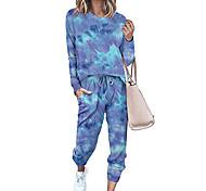 economico -Per donna Essenziale Colorato a macchie Quotidiano Set due pezzi Blusa Tuta da ginnastica Pantalone loungewear Pantaloni da jogger Con stampe Top