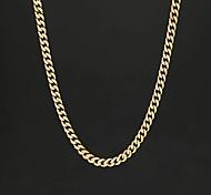 abordables -Collier Chaîne Homme Chaîne gourmette Acier inoxydable Mode Noir Dorée Argent 55 cm Colliers Tendance Bijoux 1 pc pour Plein Air Cadeau Décontracté