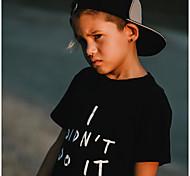 economico -Bambino Da ragazzo maglietta T-shirt Manica corta Alfabetico Con stampe Bianco Nero Cotone Bambini Top Attivo Essenziale