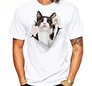 economico -Per uomo maglietta Stampa a caldo Animali Taglie forti Con stampe Manica corta Quotidiano Top 100% cotone Essenziale Casuale Nero / Bianco Bianco Nero