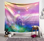 abordables -Tapisserie murale art décor couverture rideau suspendu maison chambre salon décoration polyester blanc cheval ailes pays des merveilles