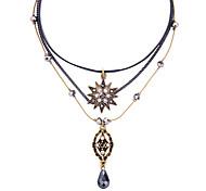 economico -Per donna Collana a strati Stella Pelle Diamanti d'imitazione Lega Colore dell'immagine 30+8 cm Collana Gioielli 1 pc Per Festival