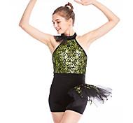 economico -Danza classica Calzamaglia / Pigiama intero Di pizzo Con balze Per donna Addestramento Prestazioni Senza maniche Naturale Di pizzo