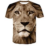 abordables -Homme T-shirt 3D effet Lion Animal Rivet Maille Manches Courtes Décontracté Hauts Jaune