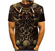 abordables -Homme T-shirt Bande dessinée 3D Impression 3D 3D Imprimé Quotidien Manches Courtes Hauts Simple Mode Jaune