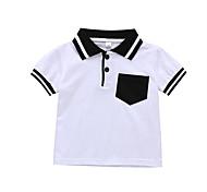 economico -Bambino Da ragazzo maglietta T-shirt Manica corta Tinta unita Bianco Cotone Bambini Top Attivo