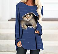 economico -Per donna Abito a T shirt Mini abito corto Manica lunga Gatto Monocolore 3D Con stampe Autunno Primavera Casuale 2021 Nero Blu Giallo Verde Grigio S M L XL XXL 3XL