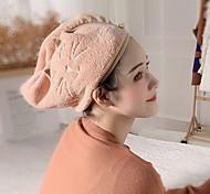 abordables -serviette de cheveux en polaire corail wrap sèche cheveux chapeau bonnet de bain serviette de séchage des cheveux avec bouton