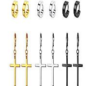 economico -orecchini a croce per uomo donna - orecchini pendenti con croce in acciaio inossidabile a cerchio argento oro nero