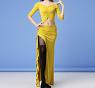 abordables -Danse du ventre Jupes Fendue Couleur Unie Femme Entraînement Utilisation Demi Manches Taille moyenne Capitale