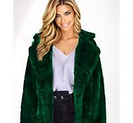 economico -Per donna Tinta unita Moda città Inverno Cappotto di pelliccia sintetica Lungo Quotidiano Manica lunga Pelliccia sintetica Cappotto Top Giallo