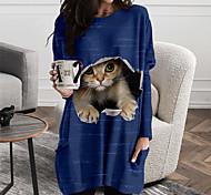 abordables -Femme Robe T shirt Robe courte courte Manches Longues Chat Bloc de Couleur Animal Imprimé Automne Printemps Simple 2021 Noir Bleu Jaune Vert Gris S M L XL XXL 3XL