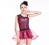 economico -Danza classica Gonne Con balze Paillettes Per donna Addestramento Prestazioni Senza maniche Naturale Organza Con strass