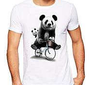 abordables -Homme Unisexe T-shirt Estampage à chaud Panda Animal Grandes Tailles Imprimé Manches Courtes Quotidien Hauts 100% Coton basique Simple Argent Blanc + rouge. Blanc / Noir