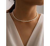 abordables -Collier de Perle Collier Femme Imitation Perle simple Classique Blanche 40 cm Colliers Tendance Bijoux 1 pc pour