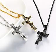 economico -Per uomo Collane con ciondolo Intrecciato Croce Di tendenza Acciaio inossidabile Nero Blu Oro Argento 55 cm Collana Gioielli 1 pc Per Regalo Quotidiano