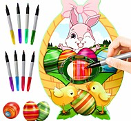 abordables -Jeu de Dessin Ensemble de décoration d'oeufs de Pâques Kit décorateur oeuf de Pâques Plastique avec marqueurs colorés non toxiques à séchage rapide Enfant Garçons et filles pour des cadeaux