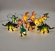 economico -Luci a stringa di dinosauro alimentate a batterie aa da 1,5 m per camera da letto dei bambini 10 led 1pc bianco caldo natale festa di capodanno vacanza decorativa