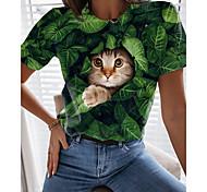 abordables -T-shirt Femme Quotidien Fin de semaine Sans Doublure Chat Graphique 3D Manches Courtes Imprimé Col Rond Hauts Standard Haut de base basique Vert