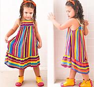 abordables -Enfants Petit Fille Robe Bloc de Couleur Casual Dos Nu Arc-en-ciel Midi Sans Manches Rétro Vintage Robes Standard 3-10 ans