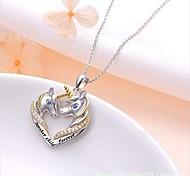 economico -collana di unicorno in argento sterling unicorno in gioielli con ciondolo a cuore in cristallo regali di unicorno per ragazze donne
