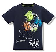 economico -Bambino Da ragazzo maglietta T-shirt Manica corta Pop art Alfabetico Con stampe Bianco Blu marino Cotone Bambini Top Estate Attivo Moda città Giornata universale dell'infanzia