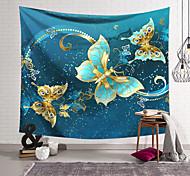 abordables -Tapisserie murale art décor couverture rideau suspendu maison chambre salon décoration polyester bleu or papillon