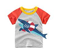 economico -Bambino Da ragazzo maglietta T-shirt Manica corta Animali Con stampe Grigio Cotone Bambini Top Moda città