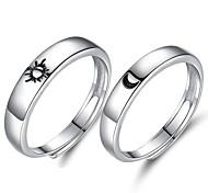 economico -Anello da anniversario in argento sterling 925 con anelli abbinati regolabili sole e luna ti amo promessa anello