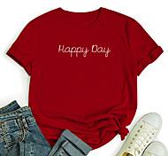 economico -Per donna maglietta Pop art Testo Alfabetico Con stampe Rotonda Top 100% cotone Essenziale Top basic Bianco Nero Blu