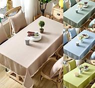 economico -Tovaglia impermeabile in cotone lino tinta unita con pizzo per tavolo da pranzo cucina mobile tv