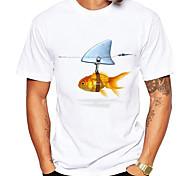 abordables -Homme Unisexe T-shirt Estampage à chaud Poissons Animal Grandes Tailles Imprimé Manches Courtes Quotidien Hauts 100% Coton basique Simple Bleu et blanc Blanc + rouge. Blanche