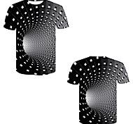 abordables -Homme T-shirt 3D effet 3D Rivet Maille Manches Courtes Décontracté Hauts Noir / Blanc