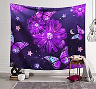abordables -Tapisserie murale art décor couverture rideau suspendu maison chambre salon décoration polyester violet papillon fleurs violettes
