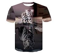 abordables -Homme T-shirt 3D effet 3D Rivet Maille Manches Courtes Décontracté Hauts Noir / Gris