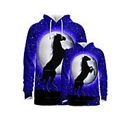 abordables -Regard de la famille Lots de Vêtements pour Famille Sweat à capuche et Sweat Cheval Graphique 3D Print Animal Manches Longues Imprimé Bleu Actif