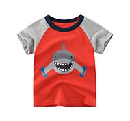 economico -Bambino Da ragazzo maglietta T-shirt Manica corta Animali Con stampe Rosso Cotone Bambini Top Moda città