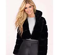 economico -Per donna Tinta unita Autunno inverno Essenziale Corto Cappotto di pelliccia sintetica Quotidiano Pelliccia sintetica Manica lunga Cappotto Top