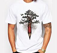 abordables -Homme Unisexe T-Shirts T-shirt Estampage à chaud Arbre Grandes Tailles Imprimé Manches Courtes Quotidien Hauts 100% Coton basique Simple Blanc / Noir Blanche Bleu