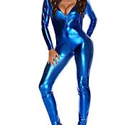 abordables -Costumes de Danse Collant / Combinaison Zip totalement visible Couleur Unie Femme Soirée Utilisation Manches Longues Polyester