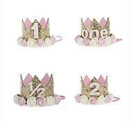 abordables -Couronne de diadème de princesse de bébé, premier chapeau d'anniversaire de bébé filles / enfants scintillant le style de fleur d'or avec la fleur artificielle de rose