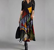abordables -Femme Robe Évasée Robe longue maxi Noir Manches Longues Imprimé Imprimé Printemps Eté Col en V Elégant 2021 S M L XL XXL