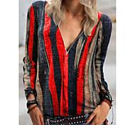 abordables -Tee-shirt Femme Quotidien Rayé Manches Longues Imprimé Col en V Hauts Ample Haut de base basique Bleu Violet Rouge