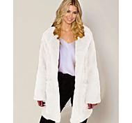 economico -Per donna Tinta unita Inverno Cappotto di pelliccia sintetica Lungo Per uscire Manica lunga Pelliccia sintetica Cappotto Top Cammello