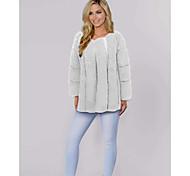 economico -Per donna Tinta unita Autunno inverno Cappotto di pelliccia sintetica Standard Quotidiano Manica lunga Pelliccia sintetica Cappotto Top Bianco