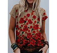 abordables -T-shirt Femme Quotidien Fin de semaine Sans Doublure Graphique Fleurie 3D Manches Courtes Imprimé Col Rond Hauts Standard Haut de base basique Rouge
